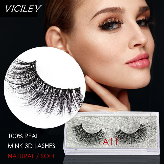 dcd5a75b35f VICILEY Mink Lashes 3D False Eyelashes 1 pair Natural Eyelashes Super  Quality Fake Eye Lash Extension for Makeup-A11