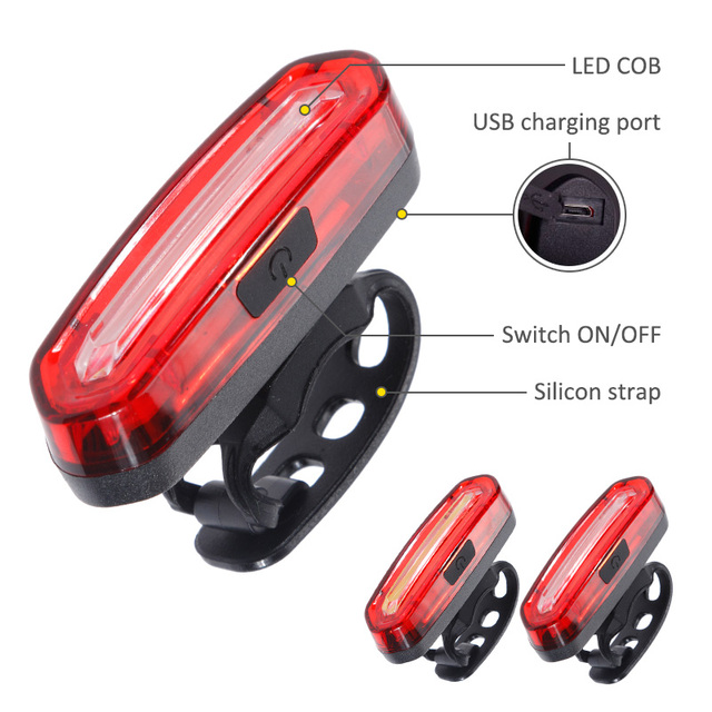 Zacro Bicycle Rear Light Cob Bicycle Led Light Rechargeable USB Safety Taillight Cycling Waterproof Mtb Tail Light Back Lamp