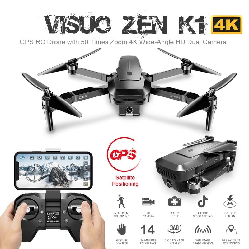 ZEN Visuo K1 GPS Zangão RC com 4K HD Câmera Dupla Gesto Controle 5G Wifi FPV Brushless Motor vôo 28 minutos Dron VS F11 B4W SG906