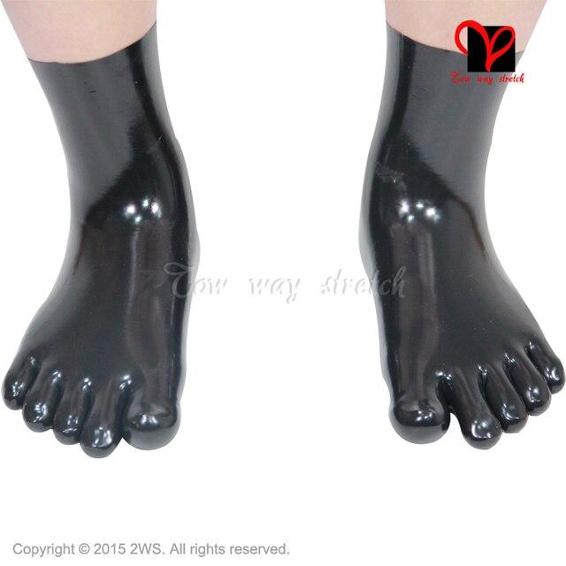 Черный Сексуальный Латекс Пять Пальцев Носки Low Cut Лодыжки Резиновые Короткие Носки чулочно-носочные изделия Шланг Футов латекс Gummi ноги