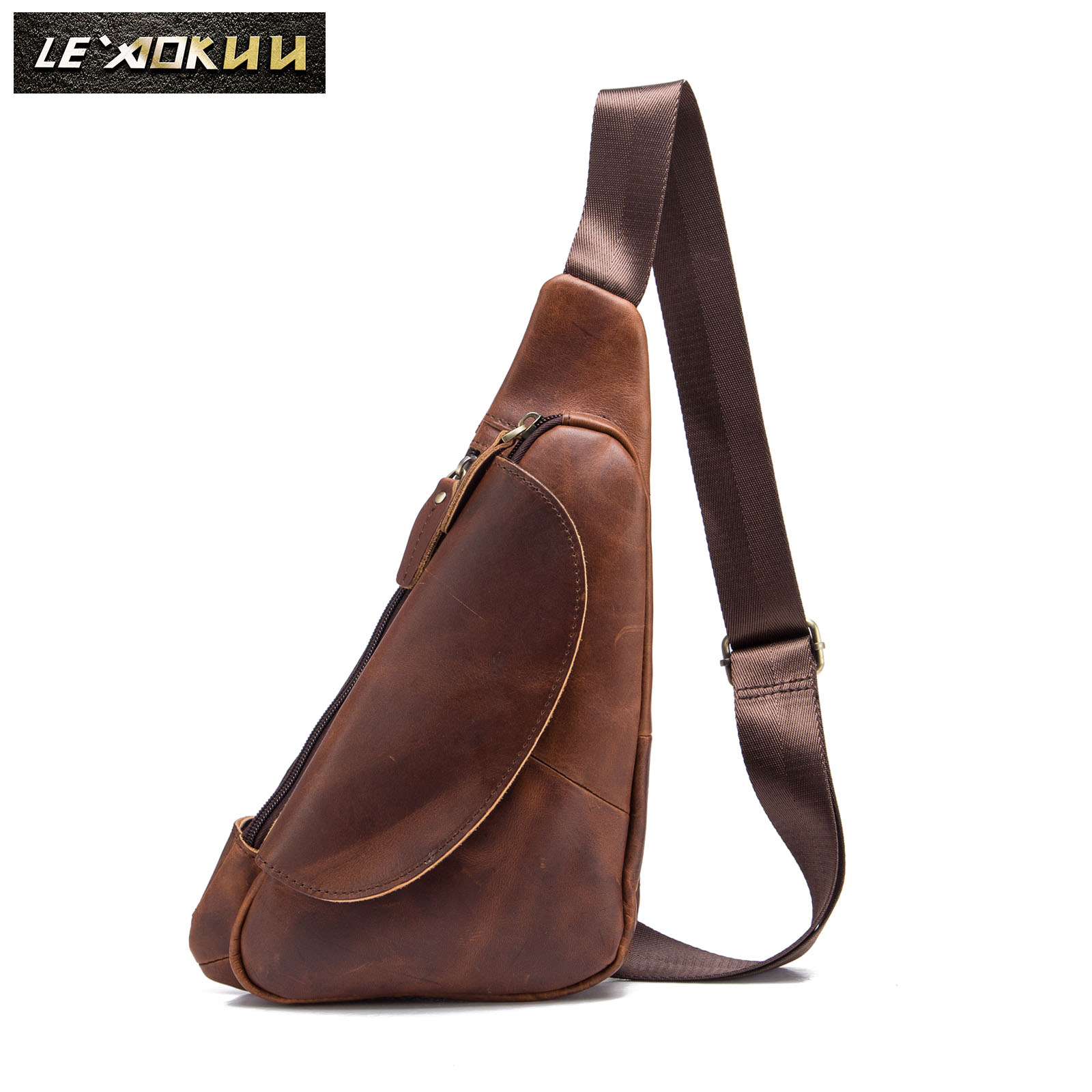Men Quality Leather Casual Fashion Triangle Crossbody Chest Sling Bag Design Travel One Shoulder Bag Backpack Daypack Male 696D