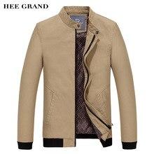 HEE GRAND Männer Mode Jacke Hochwertige Einfarbige Stehen Kragen Outwear Baumwolle Material Breite taille Herbst Mantel MWJ1942
