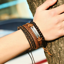 Believe Vintage Weaving DIY Artificial Leather Adjustable Rope Bracelet Magnetic Buckle Bracelets For Men Jewelry Dropshiping