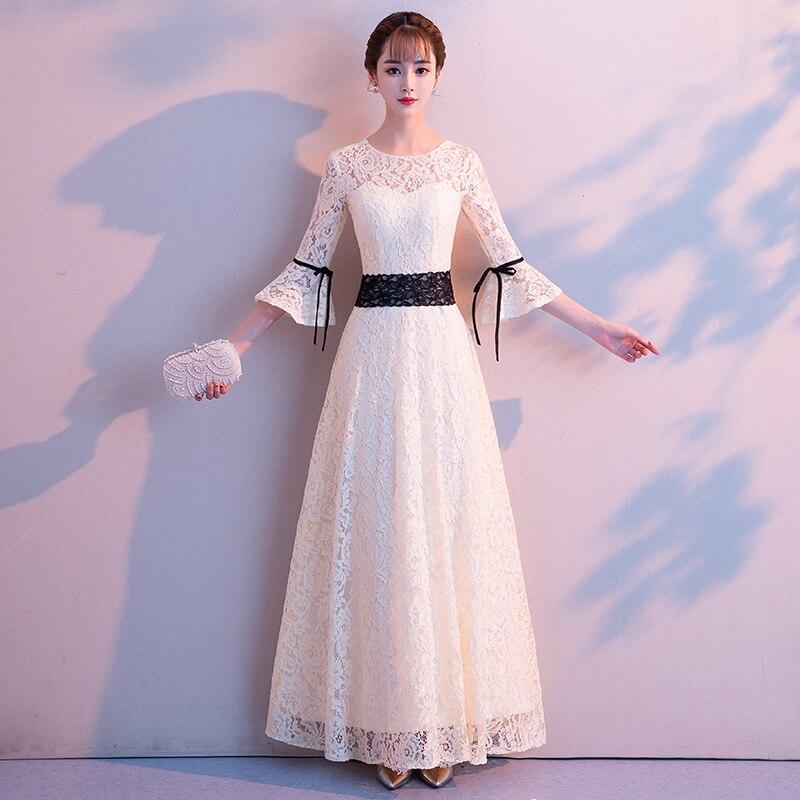 Evening Dress Female 2019 New Long Banquet Temperament Elegant Elegant Annual Meeting Host Slim Slimming Dress