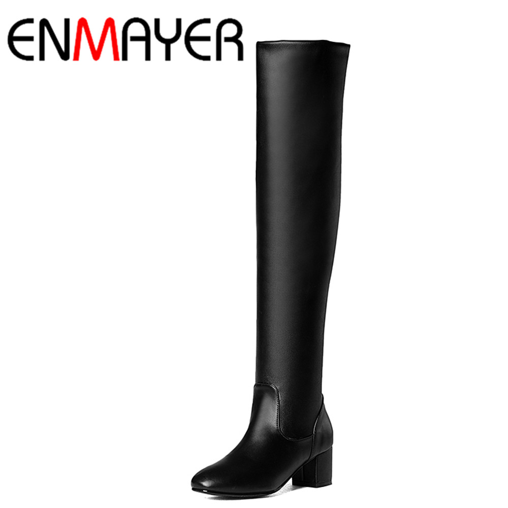 ФОТО ENMAYER Winter Autumn Woman Low Heels Pointed Toe Shoes Woman Knee High Knight Boots Women Stretch Fabric Long and Short Boots
