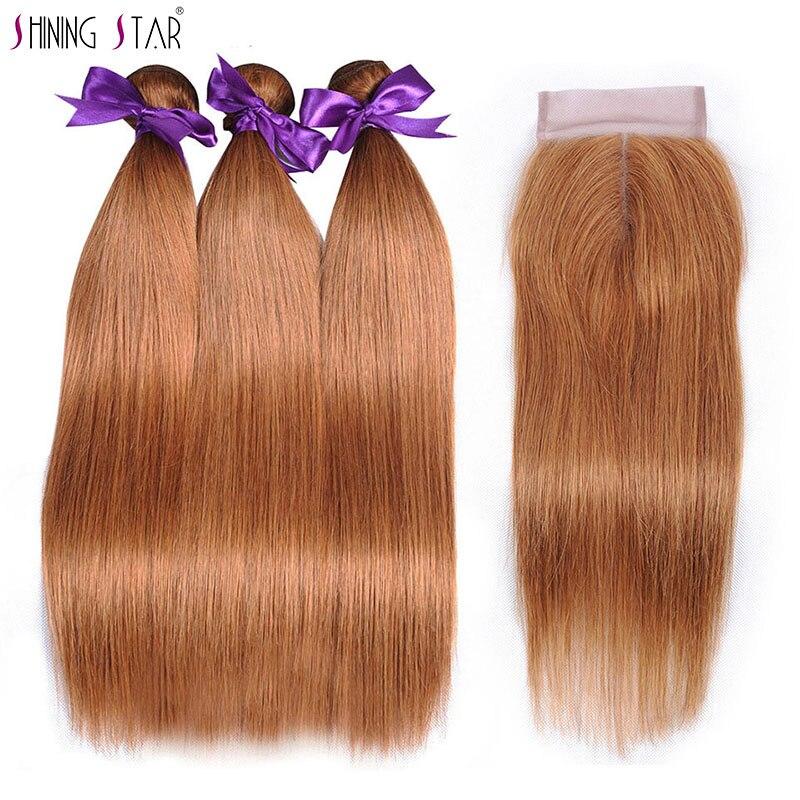 Blonde Brazilian Straight Hair Bundles With Closure Color 30 Human Hair Weave 3 Bundles With Closure