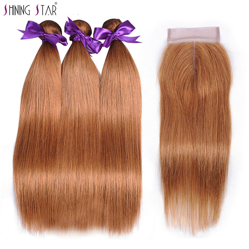Blonde Hair Weave 3 Bundles With Closure Straight Brazilian Human Hair Weave With Closure Color 30 Shiningstar Nonremy Extension