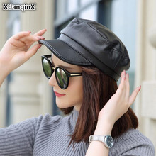 XdanqinX Autumn Winter Couple Hat Genuine Leather Hats  Elegant Womens Army Military Sheepskin Mens Flat Cap Caps