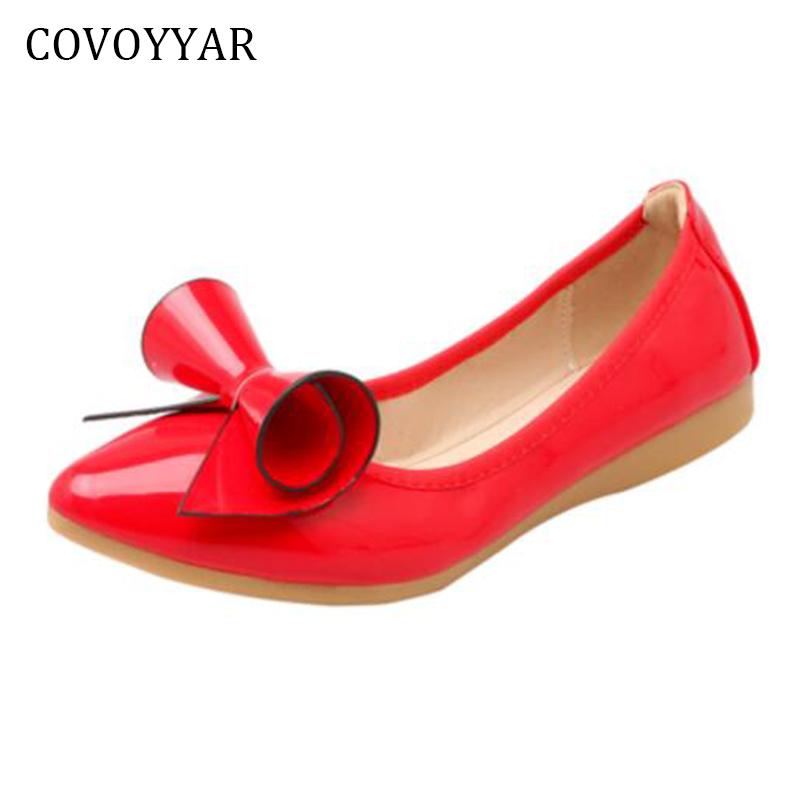 COVOYYAR 2018 Bow Women Ballet Flats Spring Autumn Fashion Patent Leather Fold-able Lady Loafers Pointed Toe Women Shoes WFS350 women ladies flats vintage pu leather loafers pointed toe silver metal design