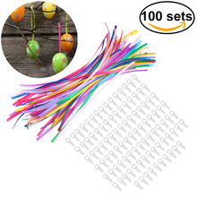 100pcs Plastic Ring Easter Egg Accessories With 18CM Ribbon For Easter Decoration Birthday  Accessory Trinket Gift
