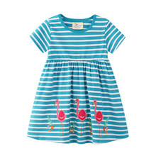 Girl Dress with Animal Applique Summer Baby Girls Clothes Kids Dresses for Girls Costume Dinosaur Children Princess Girls Dress girls dress vestido infantil wedding summer dress princess dresses for girls baby girl clothes children costume for kids clothes