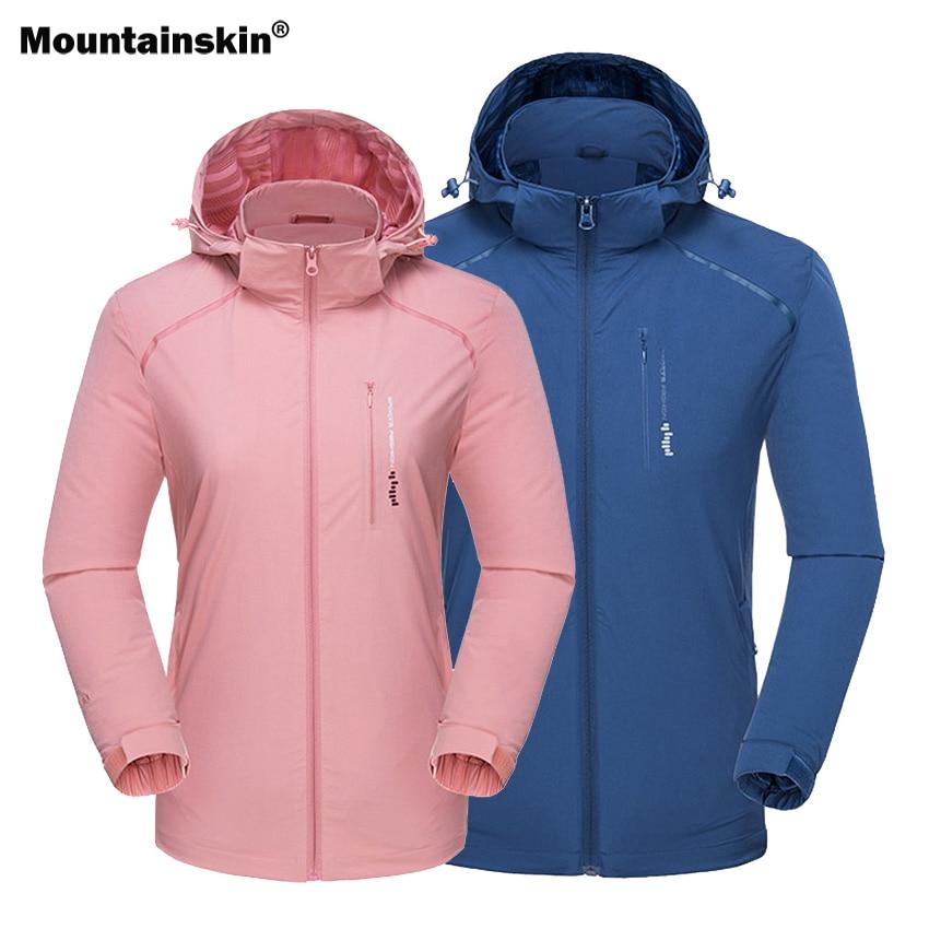 Mountainskin Men Women Spring Hiking Jacket Elastic Outdoor Sports Waterproof Breathable Windbreaker Camping Trekking Coat VA546