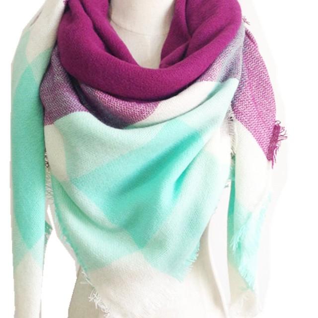 Za Winter Brand Plaid Blanket Scarf Thicker Women Brand Pashmina Mujer Sjaal Shawls Hiver Acrylic Bandana Capes Echarpe Foulard
