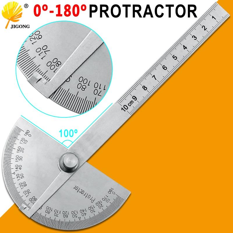 Rapporteur à tête ronde en acier inoxydable, 180 degrés, détecteur dangle, règle de mesure rotative, outil machiniste, règle artisanale de 10cm