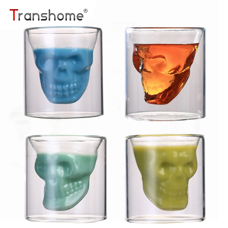 Transhome Hot Skull Glass Mug 75ml Vodka Wine Crystal Skull Head Shot Glass Cup For Whiskey Doom Champagne Cognac Glass Bottles