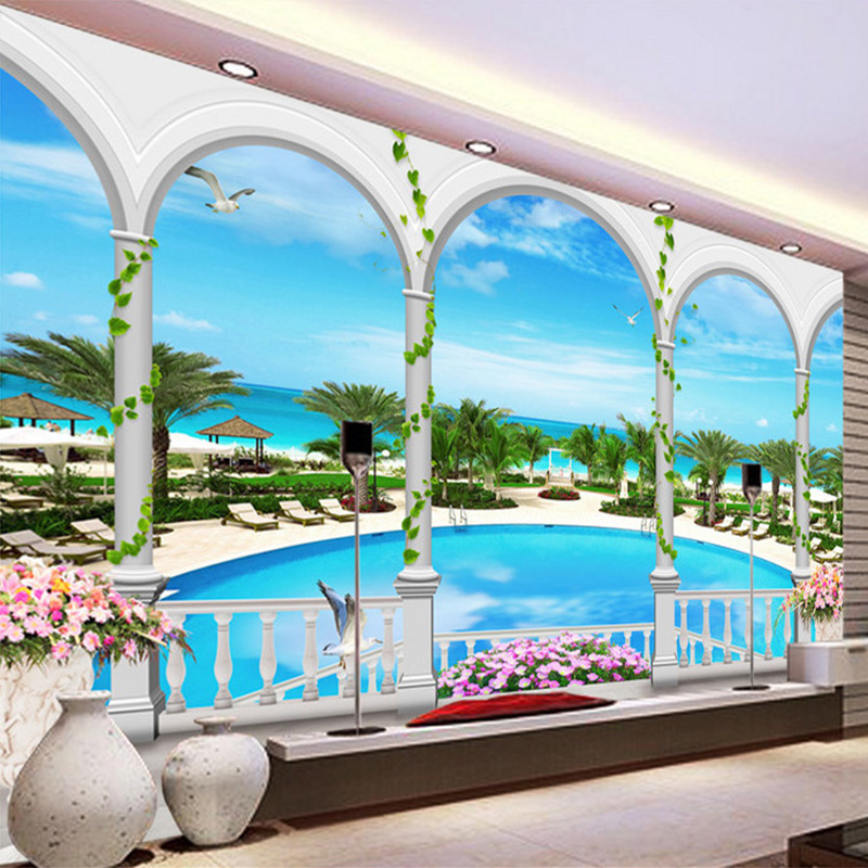 3D Stereo Seaside Swimming Pool Mural Wallpaper Living Room Theme Hotel Background Wall Paper For Walls Papel De Parede 3D Sala
