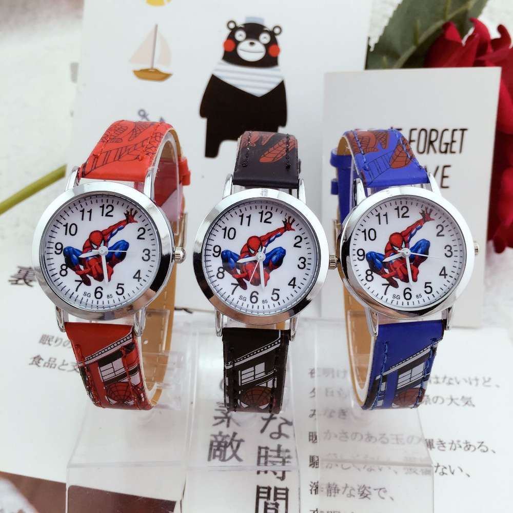 Hot Sale Kids Watches Cute Cartoon Spiderman Children Watch Leather Quartz Wristwatches Child Watch Hour Girls Boys Kid Clock