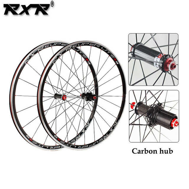 RXR X9 700C Bike Wheelset Carbon Hub Road Bike Bicycle F&R Wheels Wheelset  Clincher Sealed Bearings 7-11 Speed V Brake