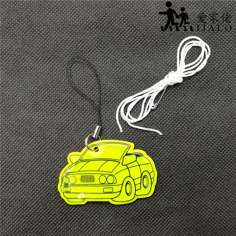 Car shape Soft PVC reflector Reflective bag pendant accessories Reflective keychain hanger keryrings for visible safety use