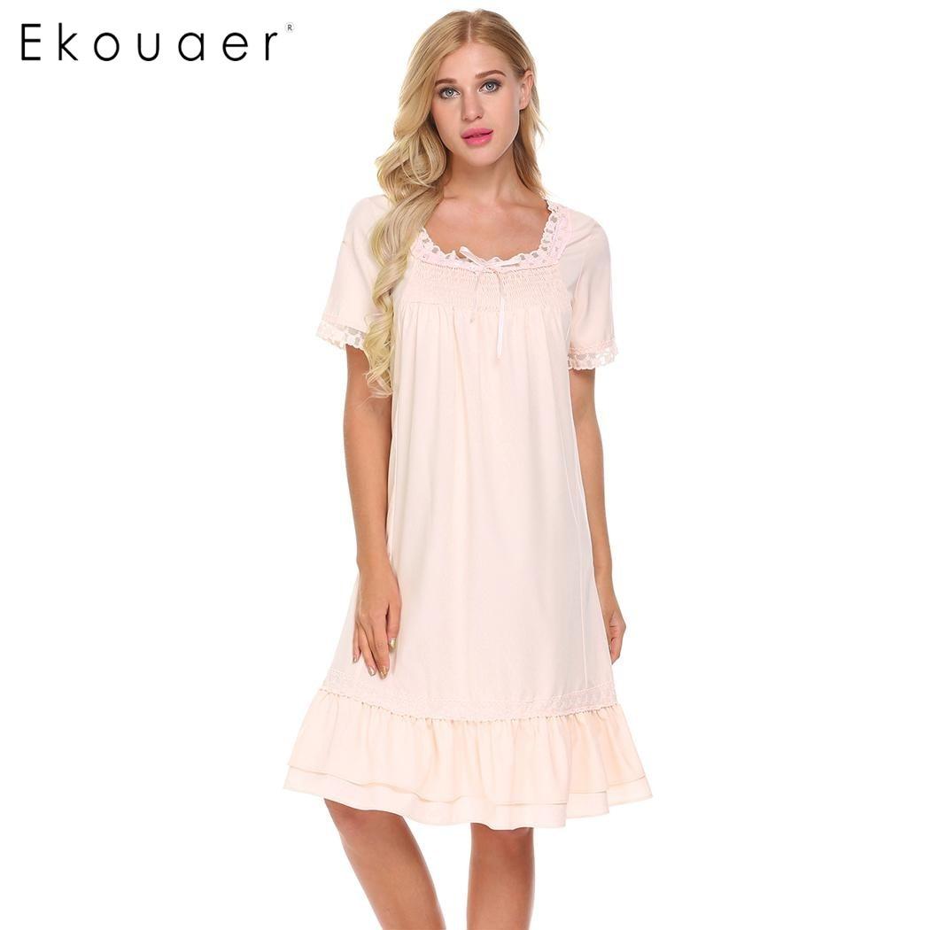 Ekouaer Frauen Vintage Stil Nachtwäsche Kurzarm Gesmokt Vorne Lose ...
