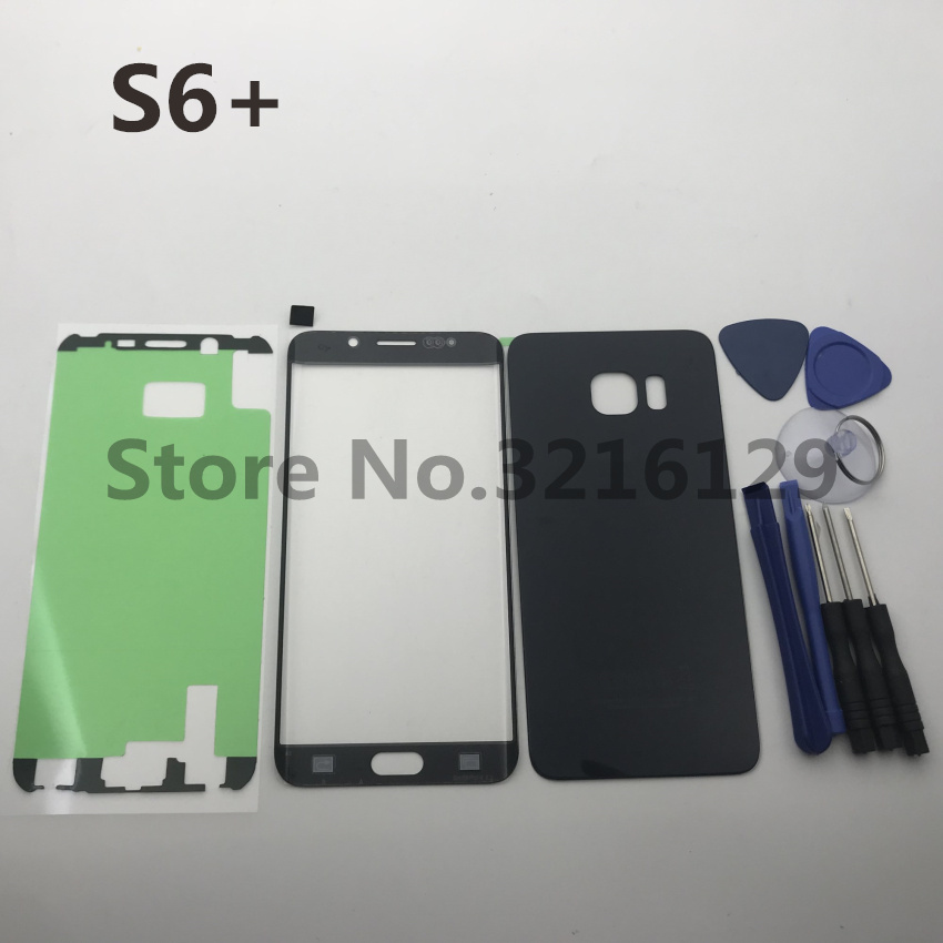 New Original For Samsung Galaxy S6 plus edge G928 G928F Back Glass Cover Rear Battery Cover Door+Front glass lens+adhesive+tools image