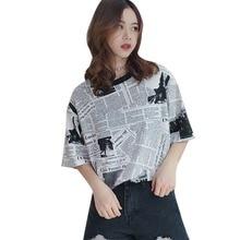 Harajuku Women Newspaper Print T-Shirt Casual Loose Short Sleeve T-Shirts Korean Style O Neck Long Tshirt camiseta mujer