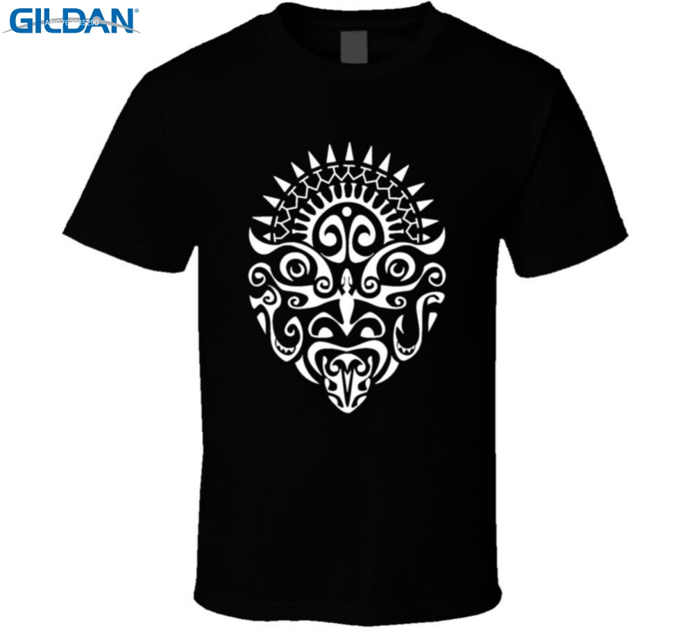 GILDAN Online Custom T Shirts Short O-Neck Fashion Maori Warrior Tattoo Face New Zealand Haka Tees