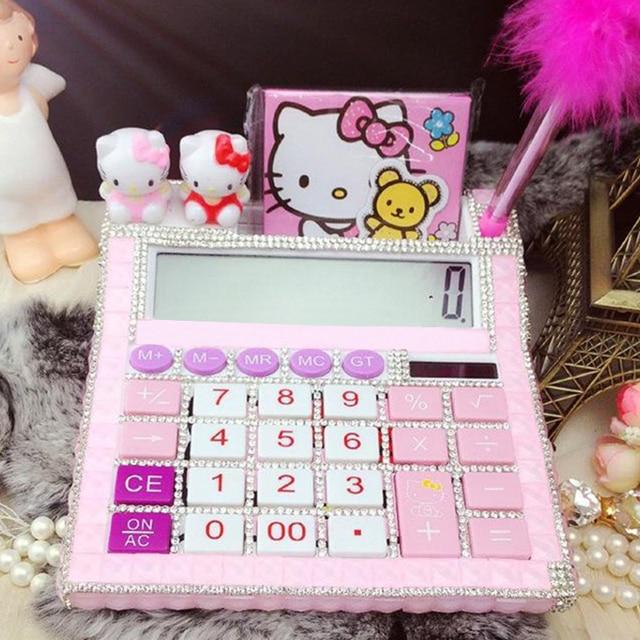 7a22c2253 2018 New 12 digit pink cute hello kitty calculator no voice cute calculator  Kawaii Calculator