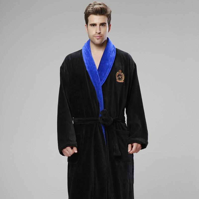 Xms зима утолщение Для мужчин халат плюс размер пижамы полотенце флис Халат теплый удлинить мужской Халат Для мужчин S ночь Халаты
