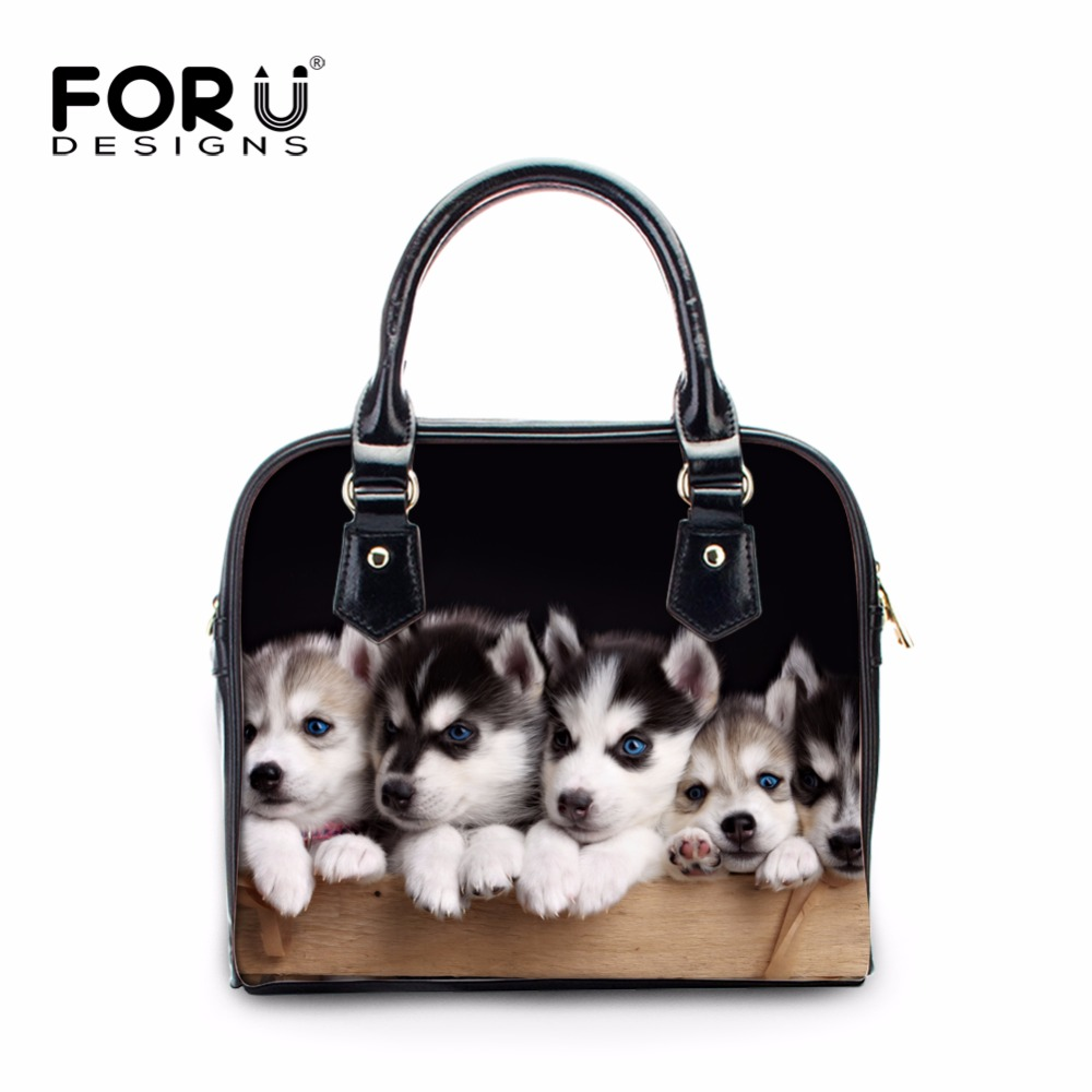 FORUDESIGNS Cute Pet Husky Dog Women Fashion Tote Shoulder Bags Luxury Cross Body Bags Ladies Casual PU Leather Handbags Mujer hot fashion chinese style women handbag embroidery ethnic summer fashion handmade flowers ladies tote shoulder bags cross body