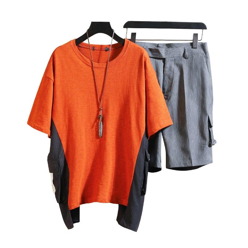 M-XXXL 2019 deux pièces ensemble pantalons et haut décontracté hommes ensembles courts d'été vêtements pour hommes survêtement hommes survêtement