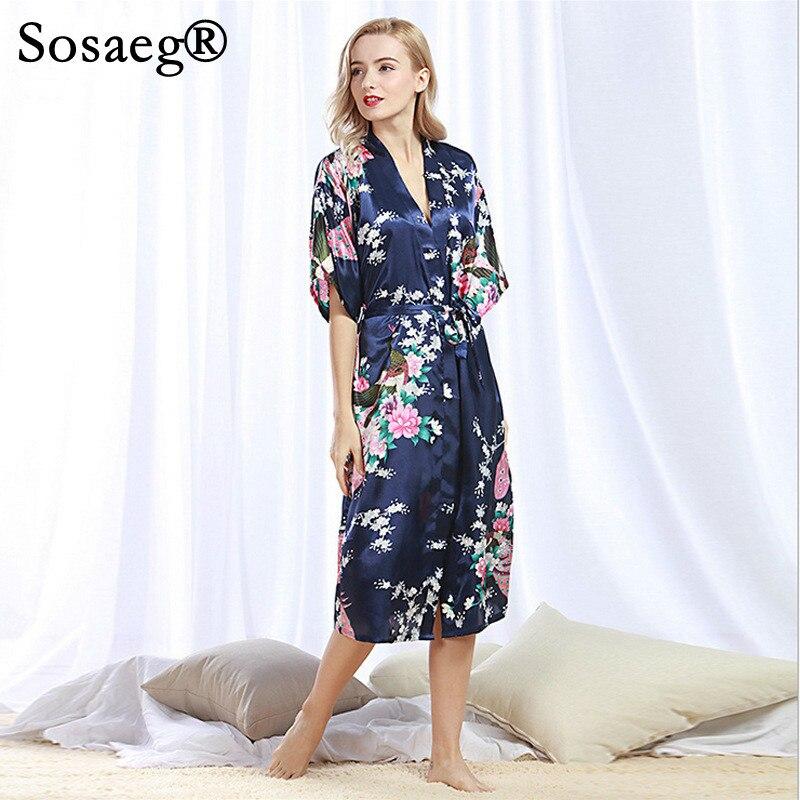 Sosaeg Peacock kimono Bathrobe Sexy Cardigan Imitate Real Silk Pajamas Summer plus size Home Furnishing kaftan bath Robe robes