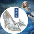 100% zapatos de cuero puro, 2015 nuevos zapatos de la novia rhinestone puntiagudo solos zapatos cristalinos de la boda envío rápido