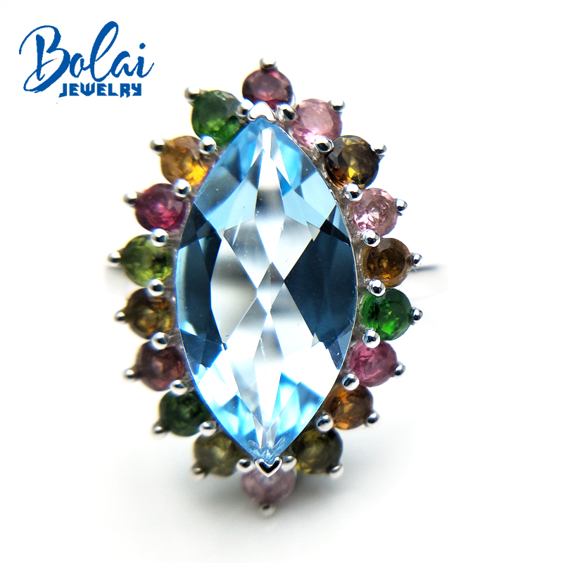 Bolaijewelry,Colorful 5.5ct natural Gemstone ring  blue topaz fancy color tourmaline Fine jewelry 925 sterling silver for ladyBolaijewelry,Colorful 5.5ct natural Gemstone ring  blue topaz fancy color tourmaline Fine jewelry 925 sterling silver for lady