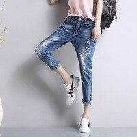 2017 Bolsillos Moda Boyfriend Jeans para Mujeres Niñas Pantalones Casuales de Mezclilla Agujero de La Vendimia Ropa Mujer Jeans Femme N17-59E
