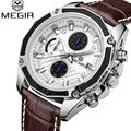 MEGIR Watch Men Chronograph Date Luminous Quartz-Watch Mens Watches Top Brand Luxury Sport Leather Wristwatch Relogio Masculino