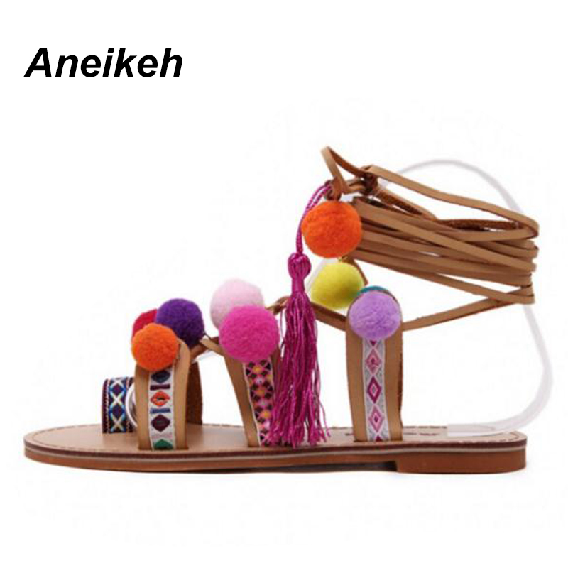 Aneikeh 2020 Sandalias Pompones Suede Pom Pom Gladiator Sandals Women Lace up Knee High Flat Sandal Women Shoe Summer Brown