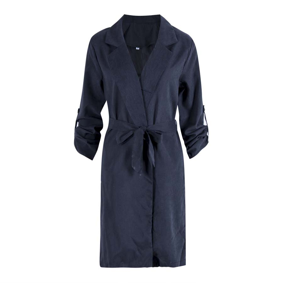 Fashion New Women New Long Sleeve Solid Kimono Cardigan CasualTops Outwear Casual Solid Belt Long   Trench