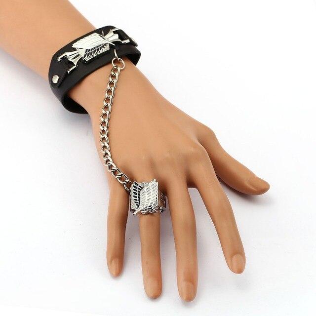 Attack on Titan Leather Bracelet Free of Wing Link Charm Bracelets Anime Cosplay Punk Bangle Men Women Jewelry YS11948