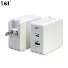 L&I USB Type C 45W PD Charger Quick Charge 3.0 Universal 2 ports USB 2.4A 12W Power Delivery Phone Charger For huawei