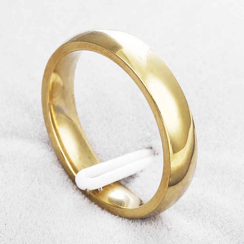 Titanium Steel  Gold color not fade Anti-allergy Smooth Simple Wedding Couples Rings Bijouterie for Man or Woman Gift g16