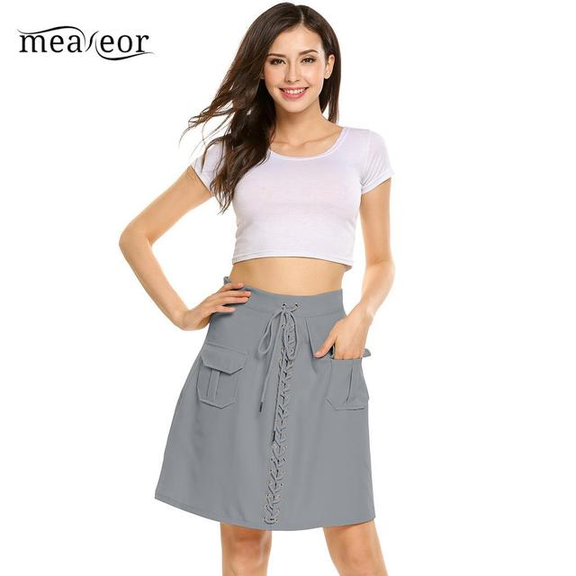 Meaneor Casual Front Tie Up High Waist Lace-up Women Cloth Mini Slim A-line Summer