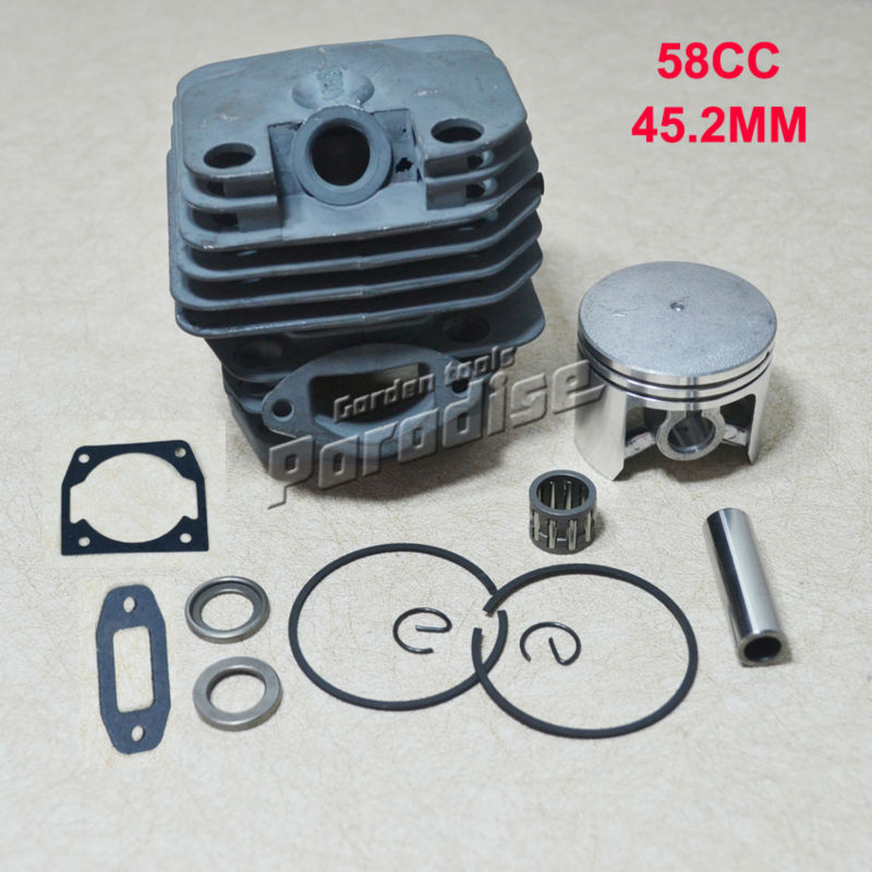 Cylinder Bore 45.2MM 58CC 5800 Gasoline Chainsaw Cylinder Piston Kit with Muffler Cylinder Gasket and Needle Bearing цена 2016