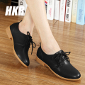 HKR 2017 spring women oxford shoes ballerina flats shoes women genuine leather lace up white boat shoes woman moccasins 888
