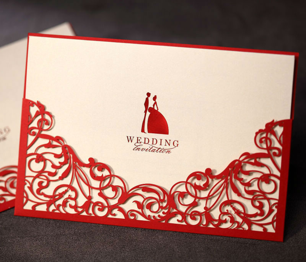 100Pcs/Kit Design Elegant Rustic Red Wedding Invitation Laser Cut ...