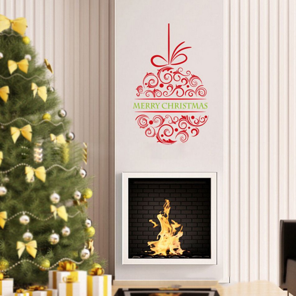 Merry christmas wreath wall stickers xmas new year festival party merry christmas wreath wall stickers xmas new year festival party wallpapers living room bedroom kitchen mural art in wall stickers from home garden on amipublicfo Choice Image