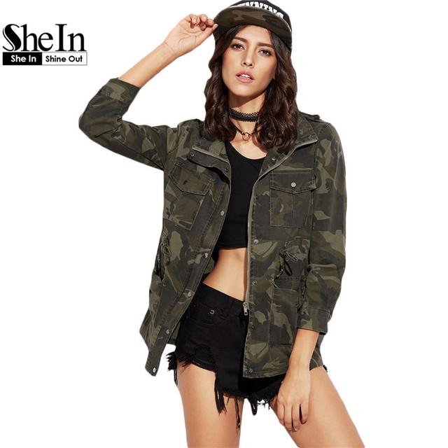 Shein mulher casual brasão para senhoras outono verde camo imprimir lapela manga comprida com cordão cintura bolsos com zíper jaqueta casaco outwear