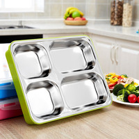 New Microwave Bento Lunch Box Stainless Steel Insulation Picnic Bowls Food Storage Box Sealed Tray Two