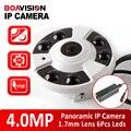 """Lente Fisheye 5MP 1/3 """"4MP Câmera IP POE Rede Vista Panorâmica de 180/360 Graus de Visão Noturna IR 20 m Onvif, Metal Interior Usando"""