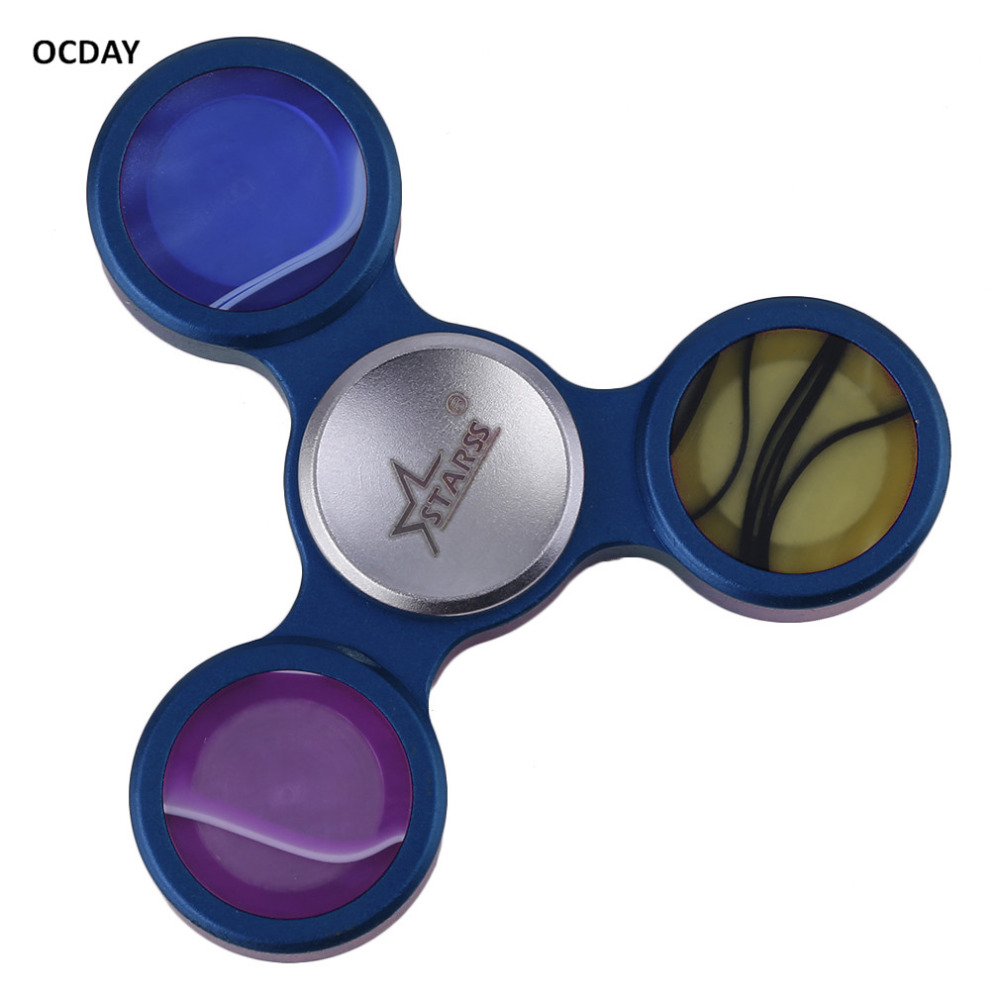 Hot ! OCDAY 4 Ccolors Fidget Spinning Top Alloy Anxiety Stress Focus Beyblade Tri Finger Spinner Toy Hand Spinner Mental Toys